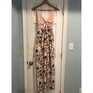 Love, fire spaghetti strap flowery maxi  dress